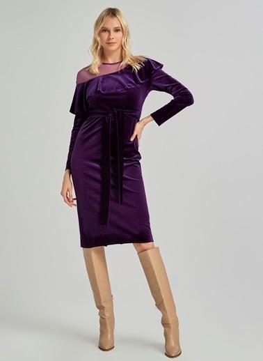 People By Fabrika Tül Detaylı Kadife Elbise Mor